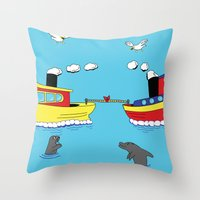 TUG BOAT OF WAR Throw Pillow