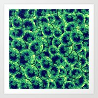 Lime & Navy Watercolor Cells Art Print