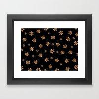 Snowflakes (Orange on Black) Framed Art Print