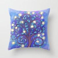 Blue Mystic Tree Throw Pillow