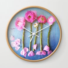 Wild Flowers and Spring Asparagus Wall Clock