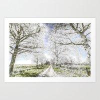 The  Farm Track Snow Art Print