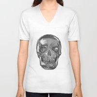 grungy skull Unisex V-Neck