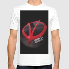 Freedom Forever SMALL White Mens Fitted Tee