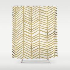 Gold Herringbone Shower Curtain