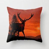 Deer On A Hill Throw Pillow