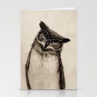 owls Stationery Cards featuring Owl Sketch by Isaiah K. Stephens