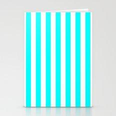 Vertical Stripes (Aqua Cyan/White) Stationery Cards