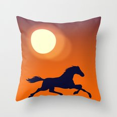 Racing Sunset Throw Pillow