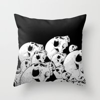 Skull Pile Throw Pillow