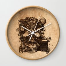 Vintage Steampunk Skull Brown Metal Gears Texture Wall Clock