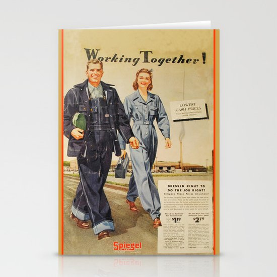 1942 Working Together Cover Stationery Card
