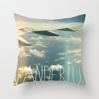 wanderlust airplane Throw Pillow