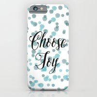 Blue Watercolor Confetti Choose Joy iPhone 6 Slim Case