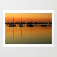 Sleeping Sail Boats Art Print
