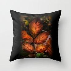 Golden Fall Sunset Leaves Throw Pillow