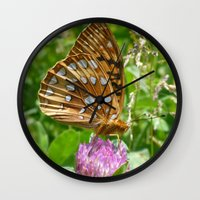 Great Spangled Fritillary Butterfly 2 Wall Clock