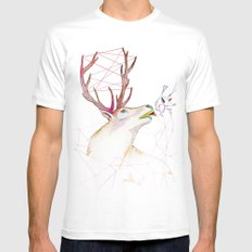 October Deer White SMALL Mens Fitted Tee