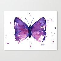 Butterfly Purple Watercolor Canvas Print