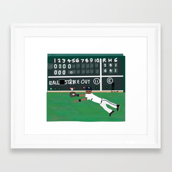 Milwaukee Brewers LF, Khris Davis, Makes a Great Catch at Fenway Park (Early April, 2014)  Framed Art Print