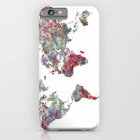 world map iPhone & iPod Cases featuring World Map  by MapMapMaps.Watercolors