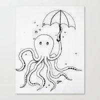 Octopus And Umbrella - O… Canvas Print