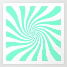 Swirl (Aquamarine/White) Art Print