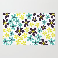Yellow and Blue Flower Rug