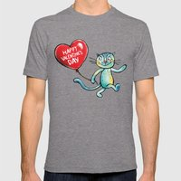 Happy Valentine's Day - Balloon heart and a kitten Mens Fitted Tee Tri-Grey SMALL
