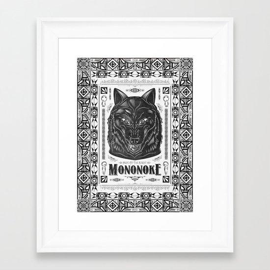 Mononoke Hime Wolf Pride Letterpress Line Work Framed Art Print