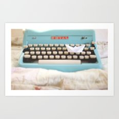 Paperboat & Typewriter Art Print