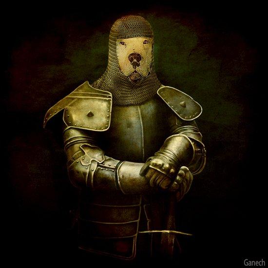 dog in armor Art Print