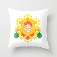 Yellow Lotus Rose Throw Pillow