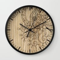 Tangle on wood Wall Clock