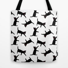 Cats-Black on White Tote Bag