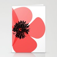Stationery Card featuring Red Poppy Flower by ialbert