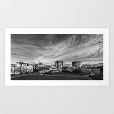 Caerphilly Castle Panorama Monochrome Art Print
