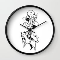 Cat Lady (Black and White) Wall Clock