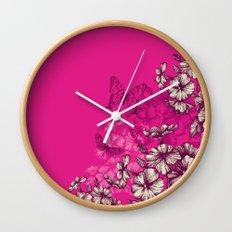 Vintage butterfly wallpaper- magenta Wall Clock
