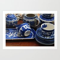 Blue cups Art Print