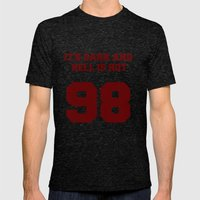It's Dark and Hell Is Hot Varsity Mens Fitted Tee Tri-Black SMALL