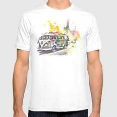 Classic Vw Volkswagen Bus Van Painting Mens Fitted Tee White SMALL