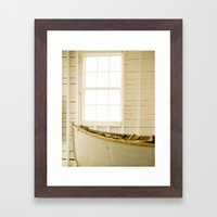 Boathouse Nautical Vintage Boat Yellow Gold White Framed Art Print