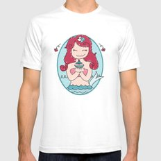 Cute Mermaid Mens Fitted Tee White SMALL