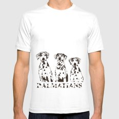 Three Dalmatians Dogs SMALL Mens Fitted Tee White