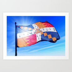 Birmingham, England, flag waving on the wind Art Print