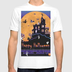 Halloween Haunted House Mens Fitted Tee White SMALL