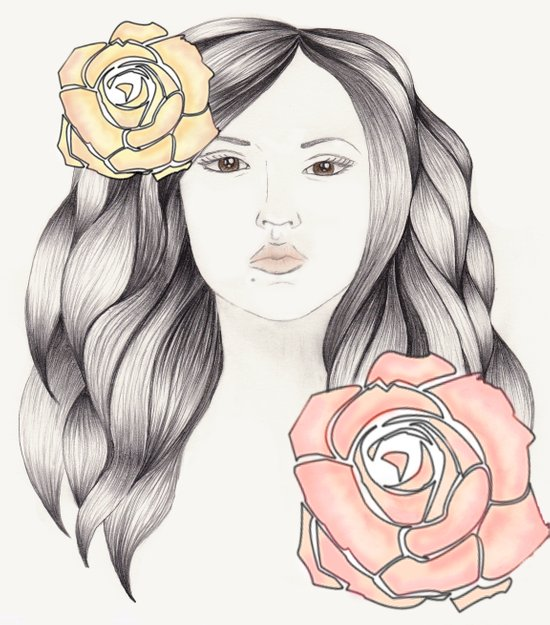 Whimsical Face with Pastel Roses Art Print