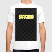 MOSCHINO Quilted Bag Mens Fitted Tee White SMALL