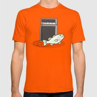 I PLAY BASS Mens Fitted Tee Orange SMALL